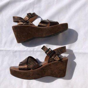 Kork-Ease Ava leather Wedge Metallic Bronze Sz 9
